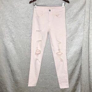 American Eagle Hi Rise Jegging Light Pink Jeans 6